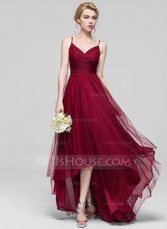 [US$ 119.99] A-Line/Princess V-neck Asymmetrical Tulle Bridesmaid Dress With Ruffle (007090206)