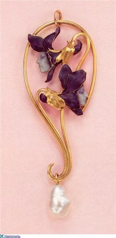 René Lalique (French, 1860-1945),Pendant.Gold, enamel, and pearl.