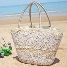 Envío gratis 2014 del bolso de la paja de la borla hecha a mano de las mujeres…