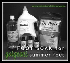 Get GORGEOUS summer feet with this foot soak made with vinegar, Epsom salt, and dish soap. Helps to remove dead skin and soften feet.