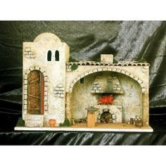 Herrería con estancia interior fogon con chimenea y puerta lateral. Christmas Crib Ideas, Fontanini Nativity, Mixed Media Canvas, Baby Room, Cribs, Tiny House, Lily, Display, Sculpture