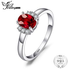JewelryPalace Oval Natural Red Garnet Ring Real 925 Sterling Silver Engagement Rings for Women Fine Jewelry Gift 2017 Natural Red, Silver Flowers, Red Garnet, Heart Ring, Fine Jewelry, Jewellery, Fashion Accessories, Engagement Rings, Gemstones