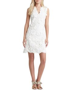 $795, White Floral Lace Casual Dress: Tory Burch Merida Floral Lace Dress. Sold by Neiman Marcus. Click for more info: https://lookastic.com/women/shop_items/89784/redirect