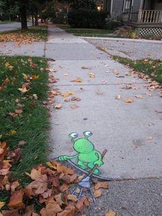 """Leaf"" #streetart. Just sweep it under the rug.... :)"