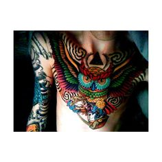 Colorful and bold owl chest piece from Tumblr found on Polyvore