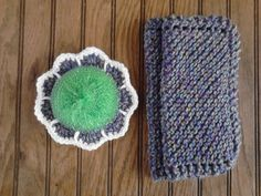 Cotton Dishcloth and Flower Scour Set Handmade by LittleMoonCrafts.