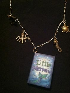 "Little mermaid book necklace Sealife charms On 16"" brass chain $15"