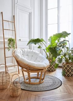 Fauteuil bambou et rotin PAPASAN tissu blanc - Expolore the best and the special ideas about Armchairs Room Decor Bedroom, Living Room Decor, Men Bedroom, Living Spaces, Modern Apartment Decor, Casa Clean, Papasan Chair, Boho Room, Wicker Furniture
