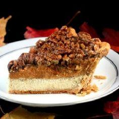 Pumpkin, Pecan, Cheesecake Pie