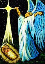 ACEO WONDERS2014 Original Scratchboard Angel Nativity Star Religious Baby Jesus