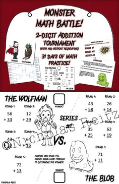 """Imagine starting your math lesson by asking your students, """"Are you ready for a Monster Fight?!""""  This is a unique approach to practicing math that involves a bracketed tournament of """"monster battles."""" Each day two movie monsters will do """"battle"""" by solving math problems.  There are 31 battles in the tournament, with 10 math problems on each battle worksheet. That's 31 days (310 problems) of great math practice! Fifth Grade Math, Second Grade Teacher, Sixth Grade, Fourth Grade, Math Help, Fun Math, Math Activities, Kindergarten Math, Teaching Math"""