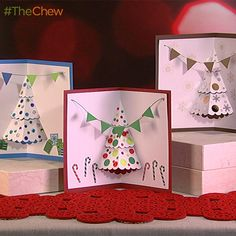 Pop-up Christmas Tree Cards by Clinton Kelly! #TheChew #ClintonsCraftCorner #DIY