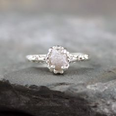Raw Uncut Rough Diamond Solitaire and 925 Sterling Silver Filigree Ring