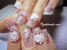 pink glitter, rhinestones, and acrylic white flowers (without silver tape) Glitter Flowers, Pink Glitter, White Flowers, Get Nails, Love Nails, Bridal Nails, Wedding Nails, Rhinestone Nails, Beautiful Nail Art