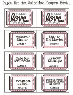 FREE download printable for a book of love tickets. Also a blank printable to make your own ticket ideas on the same page. Will be good for my children's Valentines envelopes. Tickets for making cookies, playdough, playing games, etc...