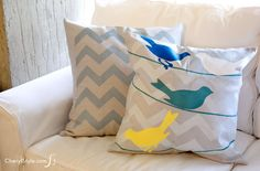 Stenciled birds pillowcase made with @ilovetocreate #tulipforyourhome #ad - CherylStyle