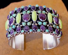 Dee Nez Sugilite, Gaspeite and Blue Gem Turquoise Cuff Bracelet