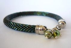 Green beaded delica crochet bracelet.