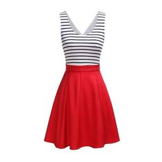 Rotita Striped Open Back Sleeveless Flared Dress (€19) ❤ liked on Polyvore featuring dresses, vestidos, red, flare dresses, a line dress, red dress, red striped dress and red flare dress