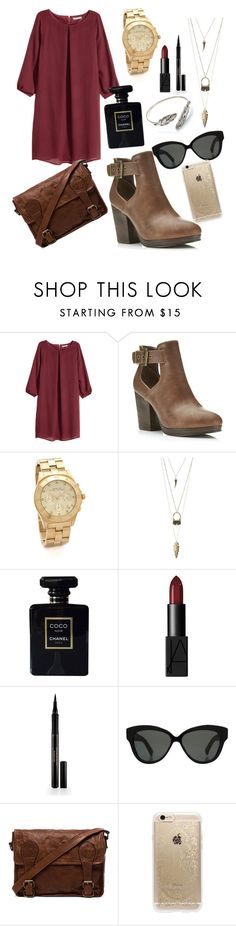 """"""""""" by tan-zuis ❤ liked on Polyvore featuring H&M, Miss Selfridge, Marc by Marc Jacobs, Charlotte Russe, Chanel, NARS Cosmetics, Elizabeth Arden, Linda Farrow, VIPARO and Rifle Paper Co"""