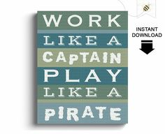 Boys Wall Art  Work like a Captain play like a by PaperBeeDesigns, $8.00