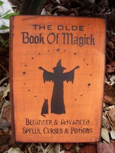 Primitive witch Halloween Book of Shadows witchcraft wiccan Witches Spells book box Olde magick cats Primitives halloween decorations by SleepyHollowPrims, $35.00 USD