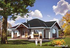 Projekt domu Sonatina - dom parterowy, z funkcjonalnym rozkładem pomieszczeń, do 120 m2 ceramika - Archeton.pl