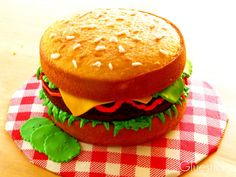 Get the best of both worlds with this Hamburger Cake from Gluesticks Blog: chocolate and vanilla in the shape of a patty!