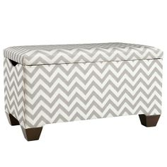 As You Wish Storage Bench with Feet in Toy Boxes   The Land of Nod Chevron Pattern will work well with Candy dot rug for pattern play. Chevron pattern is large in scale and will work with small pattern in the rug.
