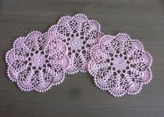 Crochet Doily in romantic pink: table decor, home decor by NadoandLola on Etsy Pink Table, Crochet Doilies, Coasters, Crochet Earrings, Romantic, Table Decorations, How To Make, Handmade, Color