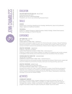 Jenn Chambless, art director, resume