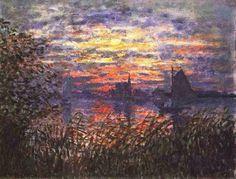 Marina com puesta de sol, 1869, Claude Monet
