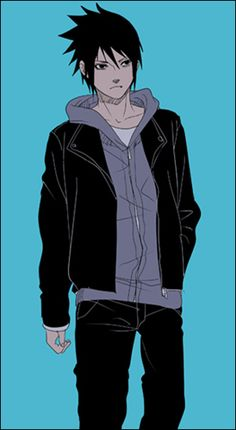 Sasuke in modern clothes- I need more of this in my life