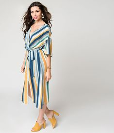 f43efd437ad Retro Style Blue Multicolor Striped Sleeved Midi Dress