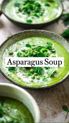 Vegan Soup, Asparagus Soup Vegan, Fried Asparagus, Kale Soup, Asparagus Recipe, Clean Eating Soup, Healthy Eating, Healthy Nutrition, Healthy Soup Recipes