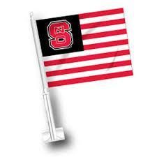 NC State Wolfpack Red White and State Car Flag