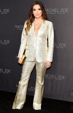 Eva Longoria in a gold Rachel Zoe suit