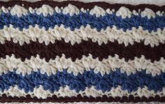 A classic chevron stitch in three colors adds the appearance of movement to this long, cozy scarf crocheted in Imperial Yarn Erin. Crochet Scarves, Crochet Shawl, Free Crochet, Crochet Blankets, Cozy Scarf, Crochet Projects, Chevron, Free Pattern, Crochet Patterns