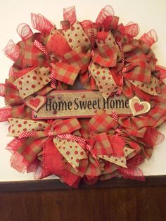 Red tan burlap wreath home sweet home spring by AntiqueRoseCrafts, $50.00
