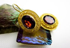 Vintage Filigree Earrings Garnet & Sterling Silver, Gold Wash, Lever Back, Early1990s. by TampicoJewelry on Etsy