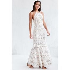 Glamorous Lace Halter Maxi Dress ($230) ❤ liked on Polyvore featuring dresses, gowns, lace dress, white lace dress, lace gown, white evening dresses and lace mermaid gown