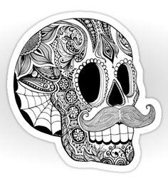 Mustache Sugar Skull, by Tammy Wetzel, via www.Redbubble.com, pop Art, skull, day of the dead.