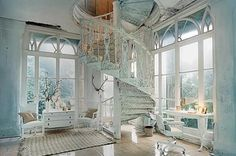 stairs in a blue room