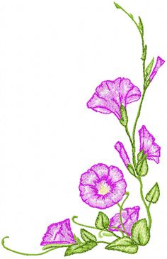 morning glory flower machine embroidery design