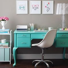 Create a home office on a budget with SeeJaneWork Desk Accessories, a freshly painted, thrift store desk and a Flipshelf. We designed this office for less than $200. | Light blue, grey, and white offce space, with stylish feminine organizers