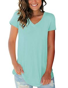 07f1fd31e6c Tops for Women Plus Size Basic Vneck Casual Tee Shirts Blouse for Legging  Lake Green 2XL