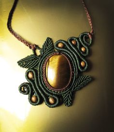 Woodlands spiral macrame necklace with tiger di AbstractikaCrafts, £37.00