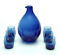 Blue glass decanter and 6 glasses design Timo Sarpaneva 1956,executed by Iittala / Finland