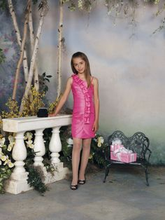Casual A-line taffeta sleeveless flower girl dress
