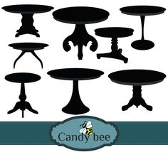 Tables Silhouette digital clip art set- Buy 1 get 1 Free, Buy 2 get 2 Free, Buy 3 get 3 Free! by CandyBeeDesigns on Etsy Silhouette Clip Art, Buy 1 Get 1, Vector Design, Digital, Round Tables, Graphics, Living Room, Studio, Cutting Files